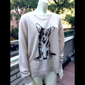 Neiman Marcus Beige Cashmere Sweater Dog Intarsia